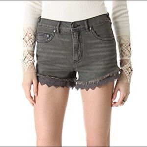 Free People High Rise Lace Cutoff s Jean Shorts